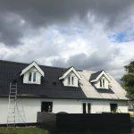Professionel tagmaler, stige foran hus